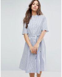 Vero Moda - Blue Stripe Shirt Dress - Lyst