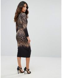 Liquorish Black Leopard Print Ombre Pencil Dress With Long Sleeves