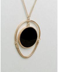 ASOS | Metallic Statement Resin Disc Long Pendant Necklace | Lyst