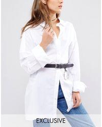 Retro Luxe London - Black Oversized Ring Detail Leather Belt - Lyst