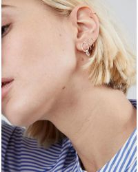 ASOS - Metallic Sterling Silver Hammered Double Circle Drop Earrings - Lyst