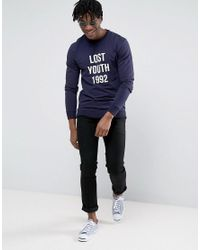 Pull&Bear Blue Sweatshirt With Lost Youth Slogan In Navy for men