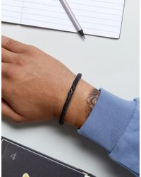 Fossil - Plaited Leather Bracelet In Black for Men - Lyst