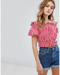 Pull&Bear Red Stripe Bow Back Detail Crop Top