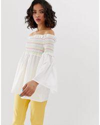 Vero Moda White Rainbow Smock Top With Flared Sleeves
