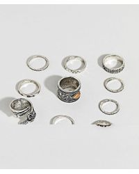 ASOS - Metallic Design Ring Pack With Stone Interest And Feather In Burnished Silver for Men - Lyst