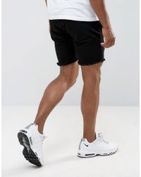 Granted - Skinny Shorts In Black With Distressing for Men - Lyst