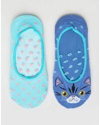 Sock Shop - Blue 2 Pack Cat Footsies - Lyst