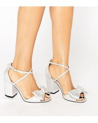 676a55d668a0 Lyst - ASOS Hundred Wide Fit Bow Sandals in Metallic
