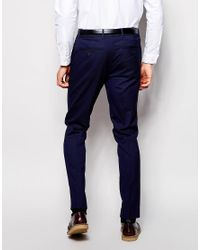 ASOS Blue Skinny Smart Joggers With Panels for men