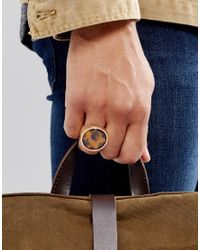 ASOS - Metallic Ring In Burnished Gold With Stone for Men - Lyst