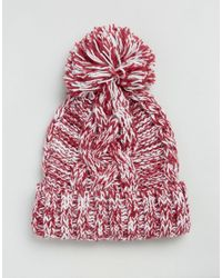 Alice Hannah | Red Marl Chunky Knit Cable Stitch Beanie Hat | Lyst