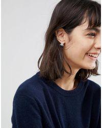 ASOS - Metallic Sterling Silver Triangle Filigree Stud Earrings - Lyst