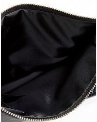 Monki - Black Snake Skin Look Clutch Bag - Lyst