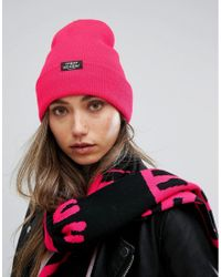 Cheap Monday Pink Ribbed Knit Beanie With Patch Logo