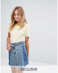 Monki Yellow Exclusive Stripe Oversized T-shirt