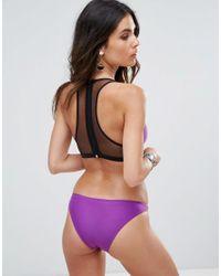 Pistol Panties Purple Mesh High Neck Bikini