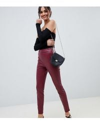 Miss Selfridge Red Faux Leather Skinny Trousers In Burgundy