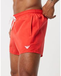 Emporio Armani Red Eagle Logo Swim Shorts for men