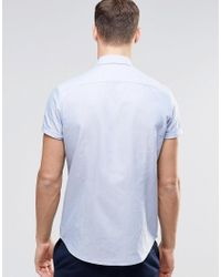 ASOS Asos Blue Oxford Shirt In Regular Fit With Short Sleeves for men