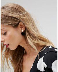 ASOS - Metallic Furry Heart Drop Earrings - Lyst