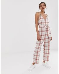 ASOS Multicolor Casual Check Jumpsuit With Rope Straps And Button Front