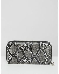 French Connection Gray French Connenction Faux Snakeskin Purse