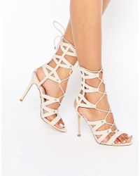 Lipsy | Natural Bevan Tan Ghillie Lace Up Calf Heeled Sandals | Lyst