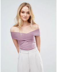 Love - Purple Bardot Wrap Band Top - Lyst