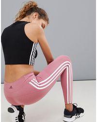 Adidas Originals Pink Adidas Training Three Stripe Leggings