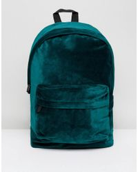 ASOS - Backpack In Green Velvet for Men - Lyst