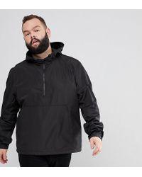 ASOS Plus Overhead Windbreaker In Black for men