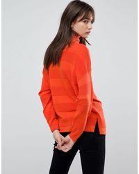 ASOS Orange Asos Sweater With High Neck And Stripe Ripple Stitch