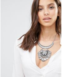 Missguided | Metallic Crystal Cluster Statement Necklace Silver | Lyst