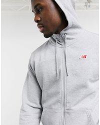 Felpa con zip e piccolo logo grigia di New Balance in Gray da Uomo