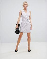 ASOS - Gray Drape Front Mini Tux Dress - Lyst