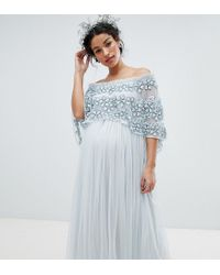 Maya Maternity Blue Embellished Bardot Layered Midaxi Dress