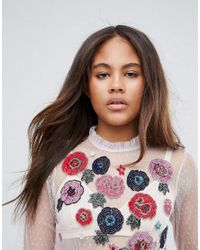 ASOS - Purple Top In Mesh With Floral Embroidery - Lyst