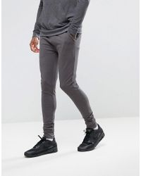 ASOS Gray Extreme Super Skinny Joggers In Charcoal Marl for men