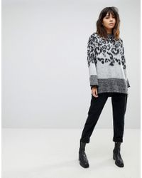 River Island Multicolor Animal Print Tie Detail Jumper