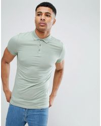 ASOS Green Extreme Muscle Polo In Jersey for men