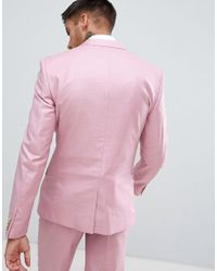 River Island Skinny Fit Wedding Suit Jacket In Pink for men