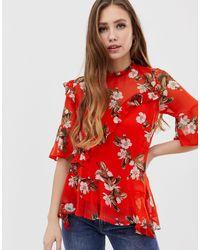 Esclusiva - Blusa stampata con volant di Miss Selfridge in Red