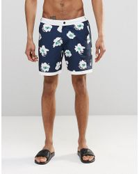 ASOS | Blue Swim Shorts With Fixed Waistband In Floral Print In Mid Length for Men | Lyst