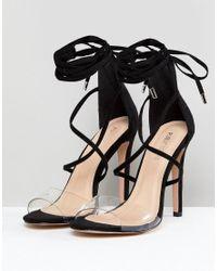 Aster - Sandales à brides transparentes - Noir Public Desire en coloris Black