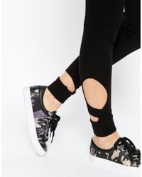 ASOS - Black Leggings With Cut Outs - Lyst