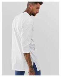 Camiseta blanca extragrande muy larga con manga 3/4 ASOS de hombre de color White