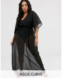 ASOS Black Asos Design Curve Recycled Kimono Sleeve Tie Back Chiffon Maxi Beach Dress