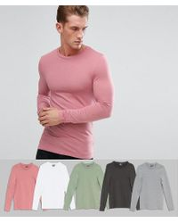ASOS - Pink Extreme Muscle Fit Long Sleeve T-shirt 5 Pack Save for Men - Lyst