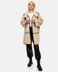 Коричневое Пальто Из Искусственной Овчины -белый TOPSHOP, цвет: Natural
